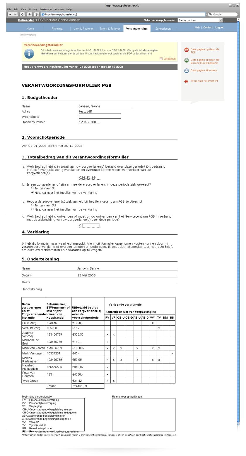 verantwoordingsformulier